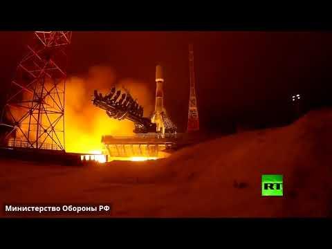 شاهد إطلاق صاروخ سويوز من مطار بليسيتسك الفضائي