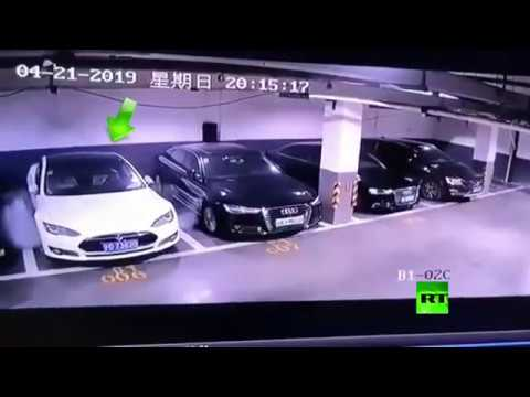لحظة انفجار سيارة تسلا