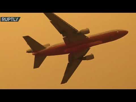 شاهد طائرات أميركية تُساهم في إخماد الحرائق في كاليفورنيا