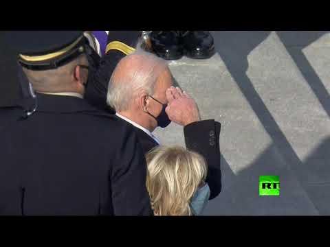 الرئيس الأميركي جو بايدن يتفقد حرس الشرف