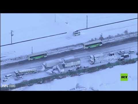 تصادم أكثر من 130 سيارة على طريق سريع في اليابان بسبب الثلوج